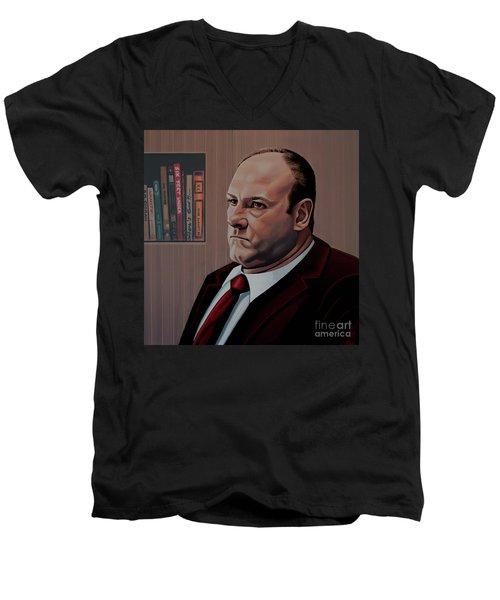 James Gandolfini Painting Men's V-Neck T-Shirt by Paul Meijering