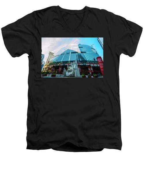 James R. Thompson Center Chicago Men's V-Neck T-Shirt by Deborah Smolinske