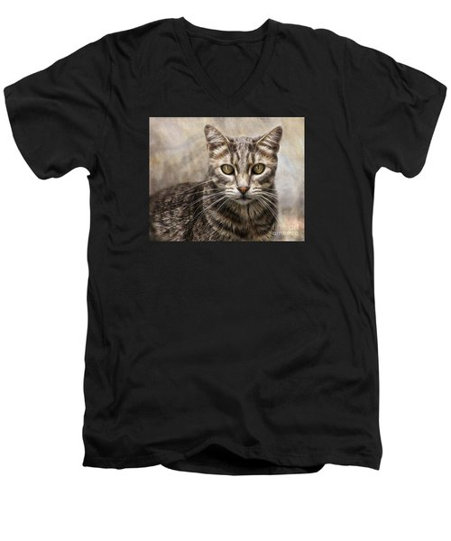 Men's V-Neck T-Shirt featuring the digital art Janie's Kitty by Rhonda Strickland
