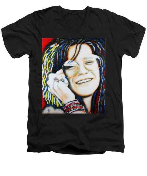 Men's V-Neck T-Shirt featuring the painting Janis Joplin Pop Art Portrait by Bob Baker