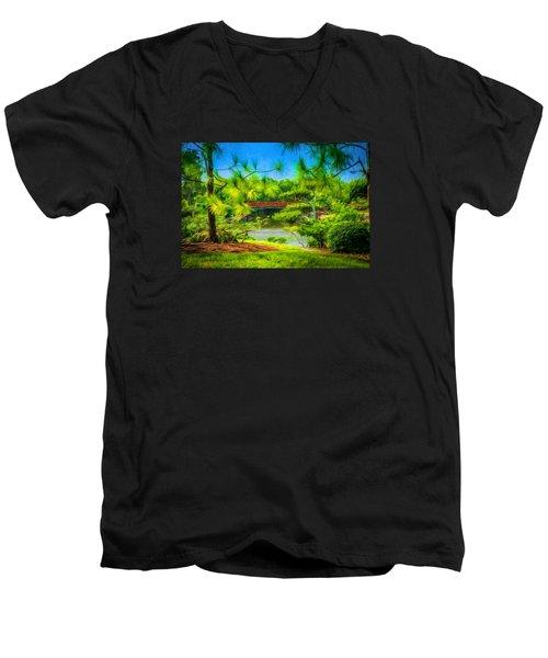 Japanese Gardens  Men's V-Neck T-Shirt by Louis Ferreira