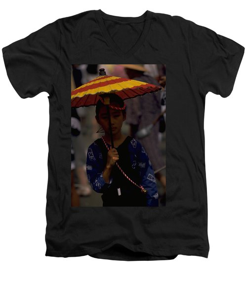 Men's V-Neck T-Shirt featuring the photograph Japanese Girl by Travel Pics