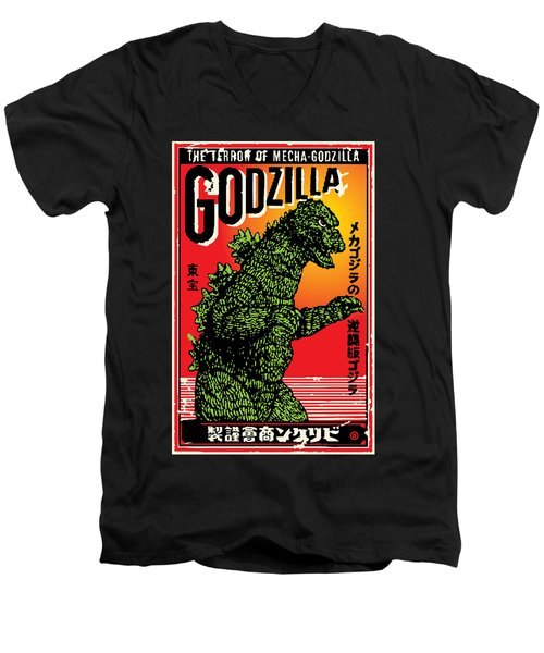 Japanese Godzilla  Men's V-Neck T-Shirt