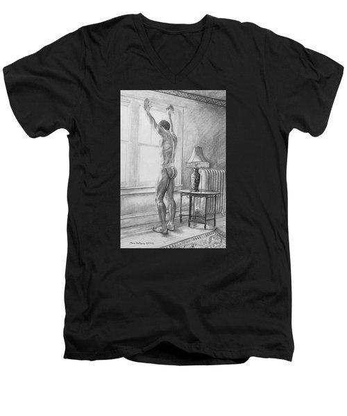 Jason At The Window Men's V-Neck T-Shirt