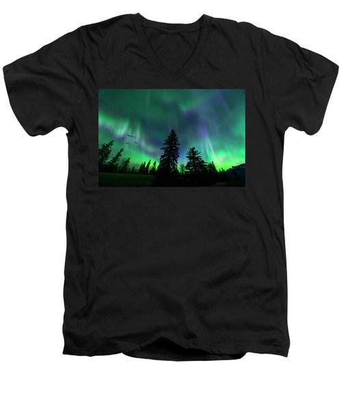 Men's V-Neck T-Shirt featuring the photograph Jasper National Park Aurora by Dan Jurak
