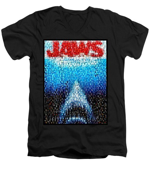 Jaws Horror Mosaic Men's V-Neck T-Shirt