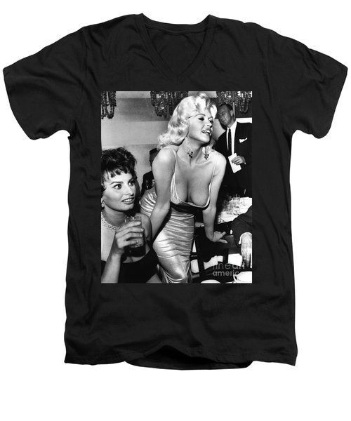 Jayne Mansfield Hollywood Actress And, Italian Actress Sophia Loren 1957 Men's V-Neck T-Shirt
