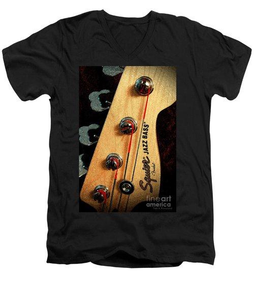 Jazz Bass Headstock Men's V-Neck T-Shirt
