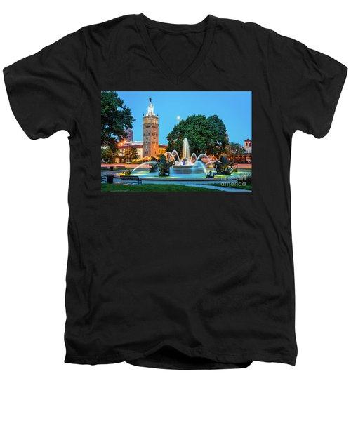 J.c. Nichols Memorial Fountain Men's V-Neck T-Shirt