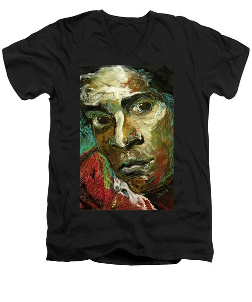 Men's V-Neck T-Shirt featuring the painting Jean-michel Basquiat by Helen Syron