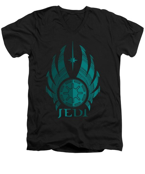 Jedi Symbol - Star Wars Art, Blue Men's V-Neck T-Shirt