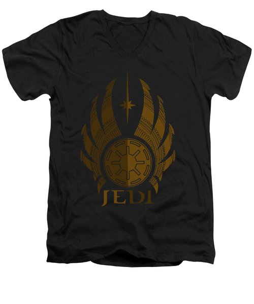 Jedi Symbol - Star Wars Art, Brown Men's V-Neck T-Shirt