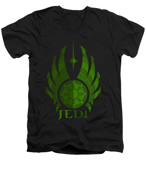Jedi Symbol - Star Wars Art, Green Men's V-Neck T-Shirt