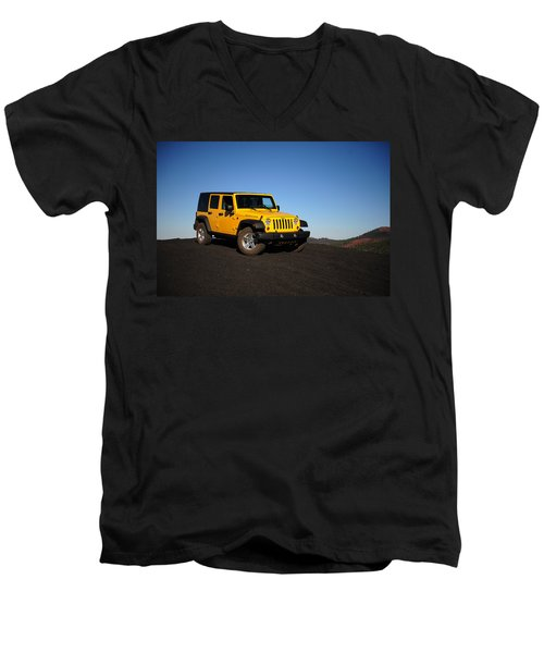 Jeep Rubicon In The Cinders Men's V-Neck T-Shirt