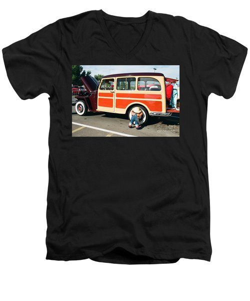 Jeepster Men's V-Neck T-Shirt by Vinnie Oakes
