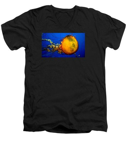 Jellyfish Men's V-Neck T-Shirt by David Gilbert