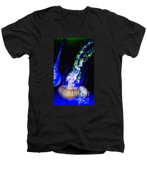 Men's V-Neck T-Shirt featuring the photograph Jellypower by Vanessa Palomino