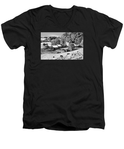 Men's V-Neck T-Shirt featuring the photograph Jenne Farm In Autumn Black And White Scenic Landscape by Betty Denise