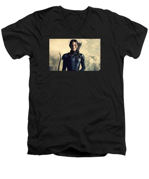 Jennifer Lawrence The Hunger Games  2012 Publicity Photo Men's V-Neck T-Shirt
