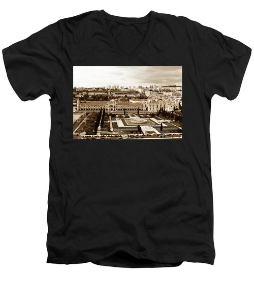 Men's V-Neck T-Shirt featuring the photograph Jeronimos Monastery In Sepia by Lorraine Devon Wilke
