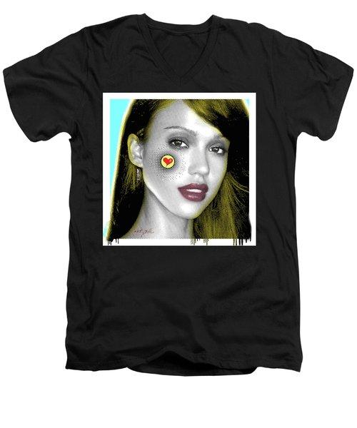 Jessica Alba Pop Art, Portrait, Contemporary Art On Canvas, Famous Celebrities Men's V-Neck T-Shirt