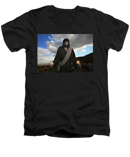Jesus Christ- And He Withdrew Himself Into The Wilderness And Prayed Men's V-Neck T-Shirt