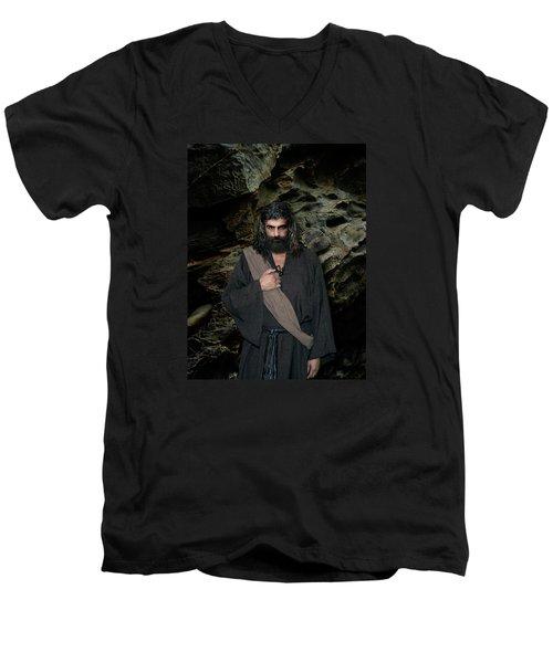 Jesus Christ- Be Still And Know That I Am God Men's V-Neck T-Shirt