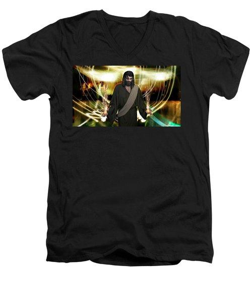 Jesus Christ- God Shines In Glorious Radiance Men's V-Neck T-Shirt