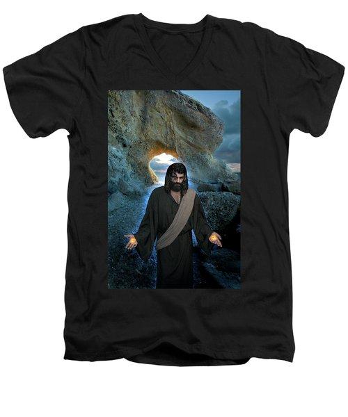 Jesus Christ- I Am With You Always Men's V-Neck T-Shirt