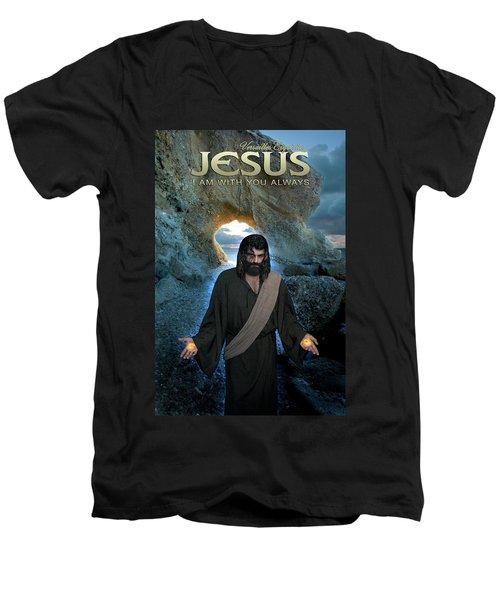 Jesus- I Am With You Always Men's V-Neck T-Shirt