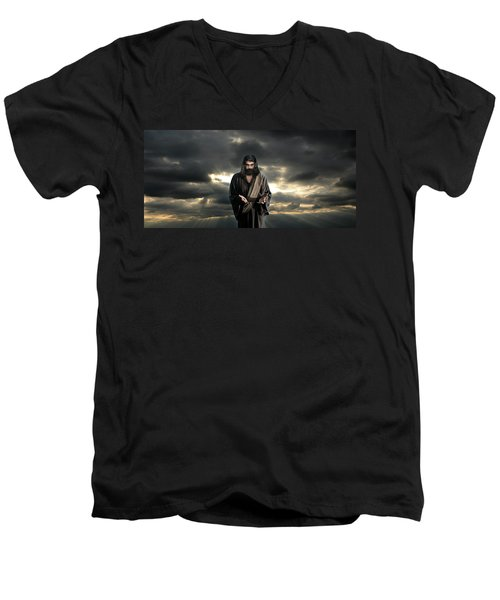 Jesus In The Clouds With Glory Men's V-Neck T-Shirt