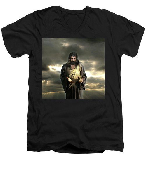 Jesus In The Clouds With Radiant Power Men's V-Neck T-Shirt