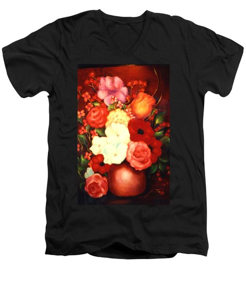 Jewel Flowers Men's V-Neck T-Shirt