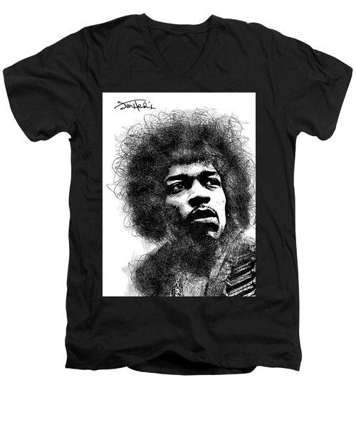Jimi Hendrix Bw Scribbles Portrait Men's V-Neck T-Shirt