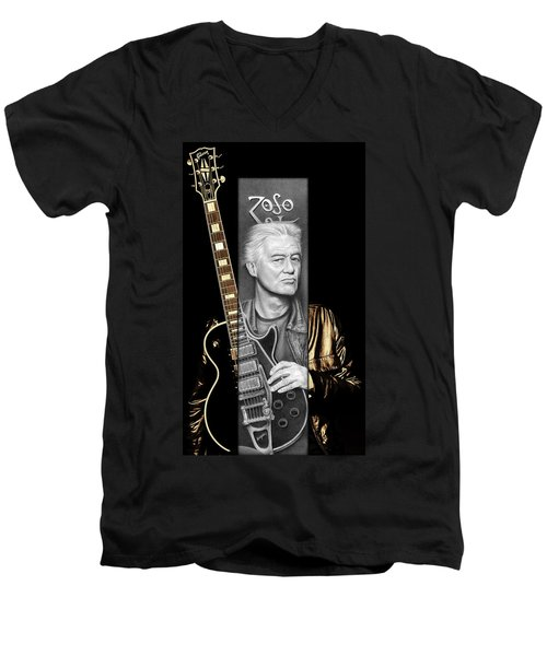 Jimmy Page Drawing Men's V-Neck T-Shirt