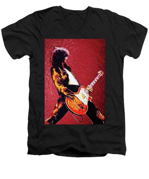 Jimmy Page  Men's V-Neck T-Shirt by Taylan Apukovska