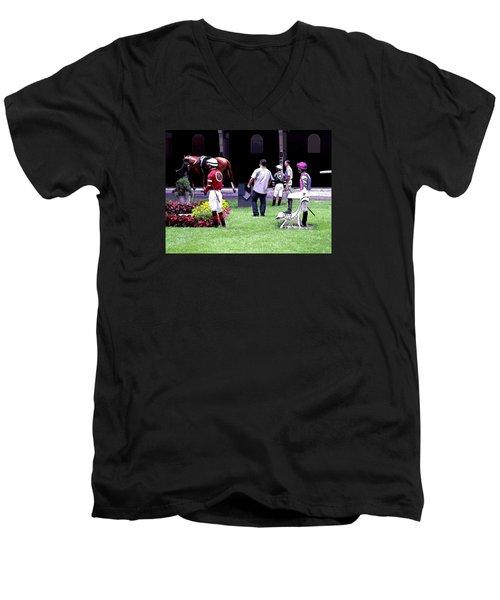 Men's V-Neck T-Shirt featuring the digital art Jockeys Painting by  Newwwman