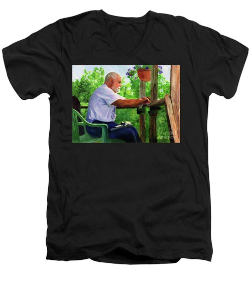 John Cleaning The Rifle Men's V-Neck T-Shirt by Donna Walsh