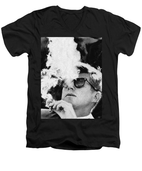 John F Kennedy Cigar And Sunglasses Black And White Men's V-Neck T-Shirt