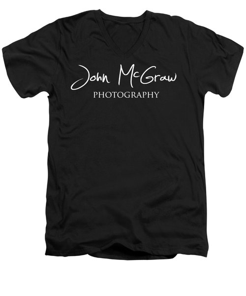 Men's V-Neck T-Shirt featuring the photograph John Mcgraw Photography Logo 2 by John McGraw