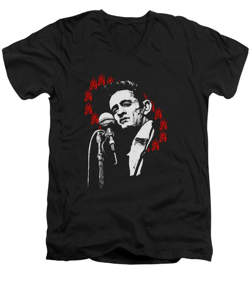 Johnny Cash Ring Of Fire T Shirt Print Men's V-Neck T-Shirt by Melissa O'Brien