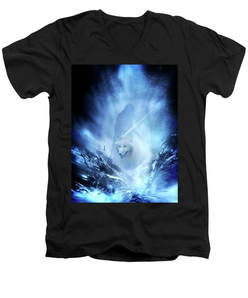 Jon Snow And Ghost - Game Of Thrones Men's V-Neck T-Shirt by Lilia D