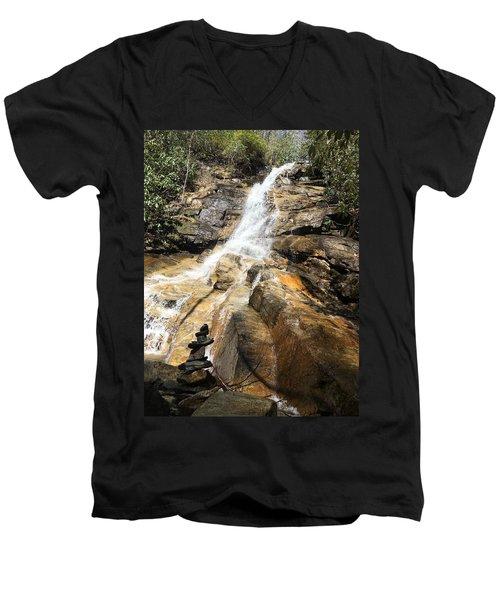 Jones Gap Falls And Monument Men's V-Neck T-Shirt by Kelly Hazel