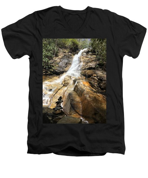Jones Gap Falls And Monument Men's V-Neck T-Shirt