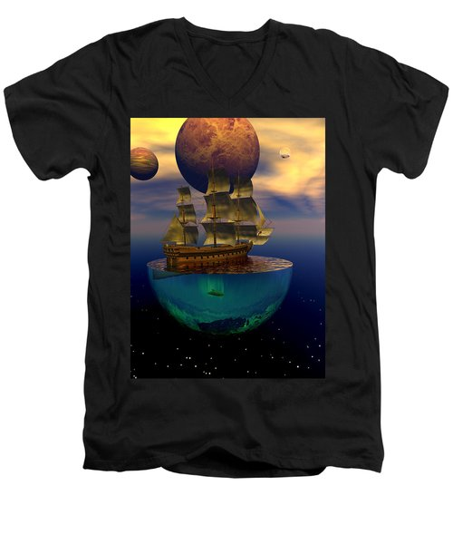Men's V-Neck T-Shirt featuring the digital art Journey Into Imagination by Claude McCoy