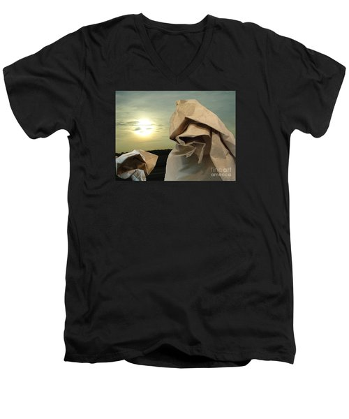 Men's V-Neck T-Shirt featuring the digital art Journey Within by Lyric Lucas