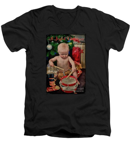 Joyful Christmas Men's V-Neck T-Shirt by Karen Lewis