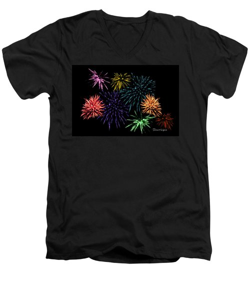 Men's V-Neck T-Shirt featuring the photograph July Fireworks Montage by Terri Harper
