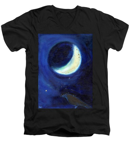 July Moon Men's V-Neck T-Shirt by Nancy Moniz