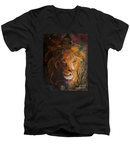 Men's V-Neck T-Shirt featuring the painting Jungle Lion by Sherry Shipley